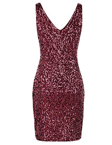 Sequin Cou V Profond Des Femmes Prettyguide Paillettes Moulante Club Extensible Mini-partie De Bourgogne Robe
