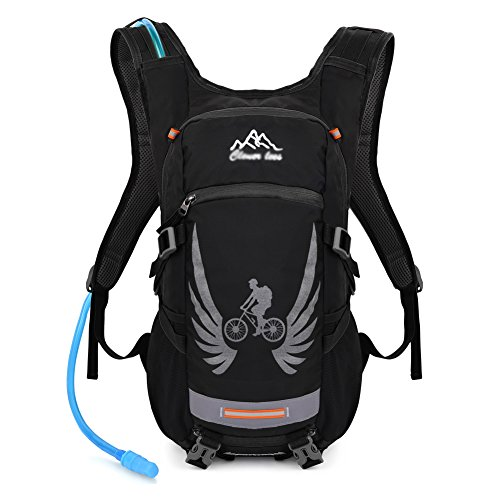Vbiger Hydration Pack with 2 L Water Bladder Water Resistant Backpack for Hiking, Cycling, Running, Climbing (Black)