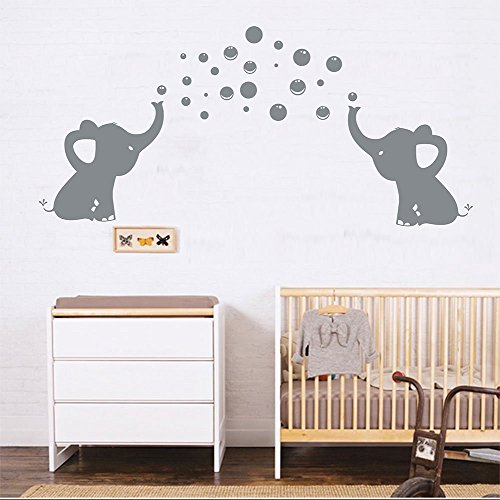 LUCKKYY Elephants Bubbles Wall Decal Vinyl Wall Sticker Wall Art Baby Nursery Wall Decor (Grey)