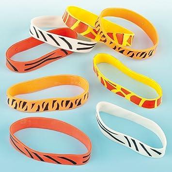 12 Animal Print Rubber Bracelets Loot Bag Favors Safari Jungle Birthday Party