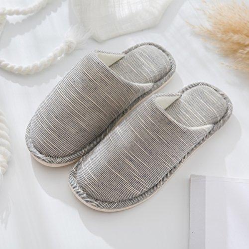 Inverno habuji pantofole di cotone cotone imbottito di pantofole femmina interni home pianale in legno antiscivolo scarpe per uso domestico, 44-45, blu scuro