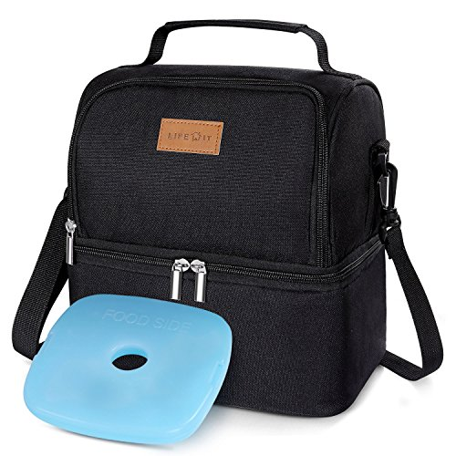 Lifewit Insulated Lunch Box Lunch Bag for Adults/Men/Women/Kids, Water-Resistant Leakproof Soft Cooler Bento Bag for Work/School/Meal Prep, Dual Compartment, 7L, Black [ with Blue Ice Pack ] - Classic Double Kit