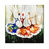 Konda Art - Abstract Dance Oil Painting Hand Painted Modern Canvas Wall Art Colorful Ballet Girl Artwork for Living Room (Framed 24''W x 24''H)