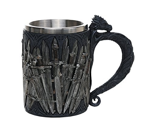 Dragon Swords Medieval Mug Stainless Steel Cup Tankard Mythical Fantasy Blade