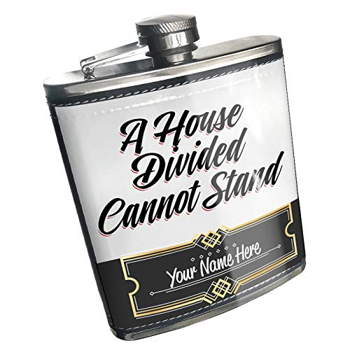 - Neonblond Flask Vintage Lettering A House Divided Cannot Stand Custom Name Stainless Steel
