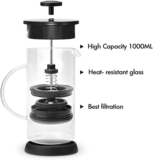 i Cafilas French Press Coffee Tea Maker Large 8 Cup,34oz Stainless Steel Mesh Filter Coffee Press Pot without Coffee Grounds Stable nice Flavor 34oz 1L