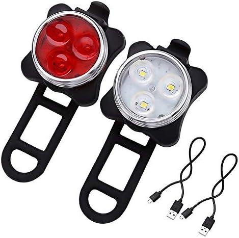 自転車ライトセットLED自転車ライト防水USB充電式バックライト(赤)フロントライト(白)、3個ホイールライト
