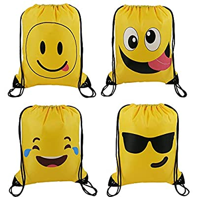 BeeGreen Emoji Party Supplies Favor Bags Drawstring Backpacks for Kids Teens Boys and Girls Birthday Party Goody Gift Bags 10 Pack: Toys & Games