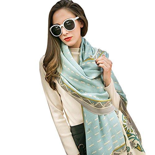 DANA XU 100% Pure Wool Women Scarf Large Size Pashmina (Blue) ()