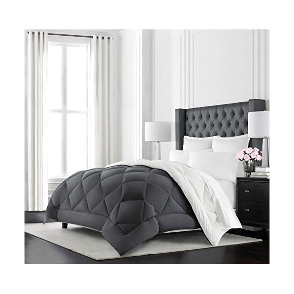 Beckham Hotel Collection Goose Down Alternative Reversible Comforter – All Season – Premium Quality Luxury Hypoallergenic Comforter