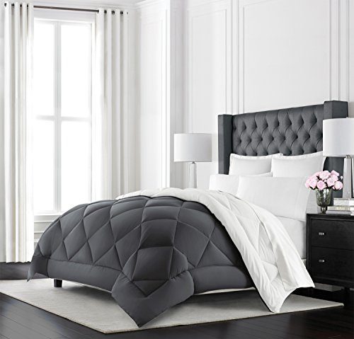 Beckham Hotel Collection Goose Down Alternative Reversible Comforter - All Season - Premium Quality Luxury Hypoallergenic Comforter - King/Cal King - Grey/White (Warm Comforter)
