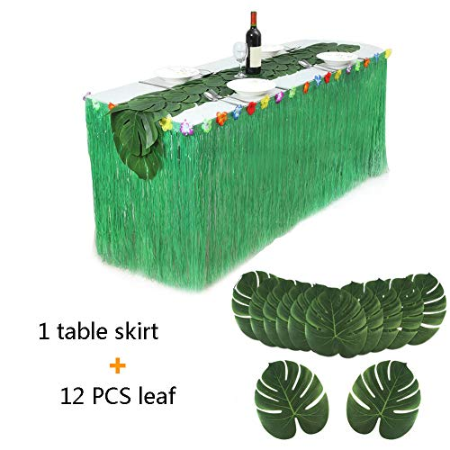 (Tropical Party Artificial Plastic Natural Grass Table Skirt, 9ft30