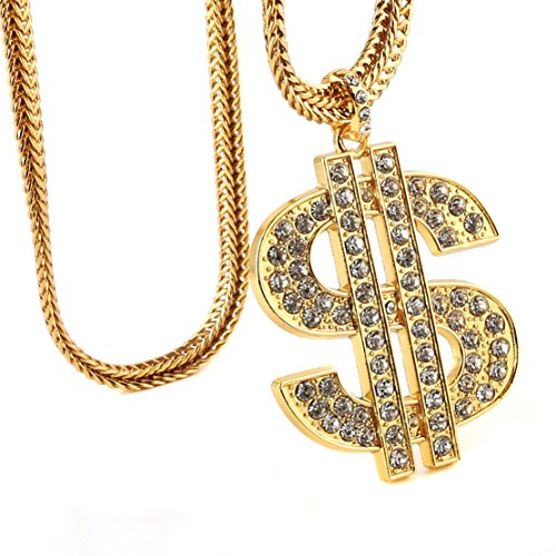 HZMAN Men 18k Real Gold Plated Dollar Sign Pendant Necklace,Cz Inlay,with FREE Fishtail hip hop Chain 30