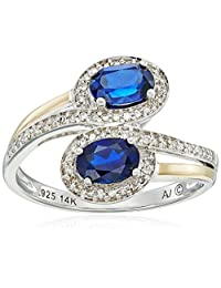 Sterling Silver and 14k Yellow Gold Two Stone Created Blue Sapphire with Diamond Accents Ring (1/10cttw, I-J Color, I2-I3 Clarity), Size 7