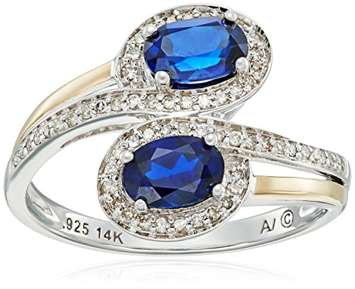 sterling-silver-and-14k-yellow-gold-two-stone-created-blue-sapphire-with-diamond-accents-ring-1-10ct
