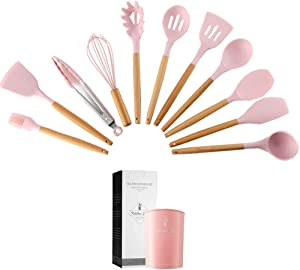 Caliamary Silicone Kitchen Utensil Set, 11 Pieces Cooking Utensil with Wooden Handles, Utensils Holder for Nonstick Cookware, Spoons, Soup Ladle, Slotted Turner, Whisk, Tongs, Brush, Pasta Server