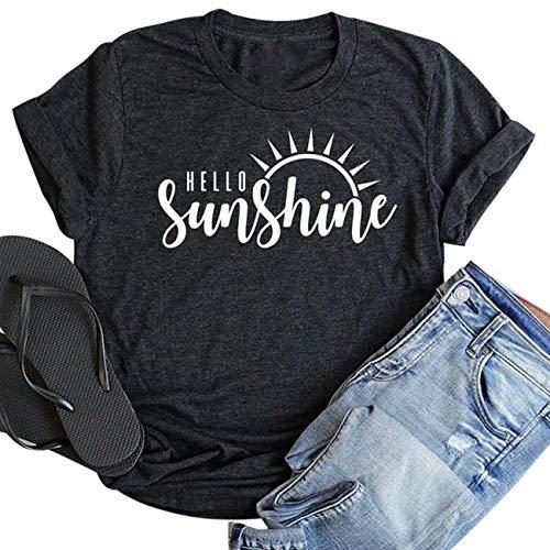- Hello Sunshine Shirt Top Women Summer Short Sleeve Graphic Print T Shirt Nature Shirt Vacation Shirt Size M (Gray)
