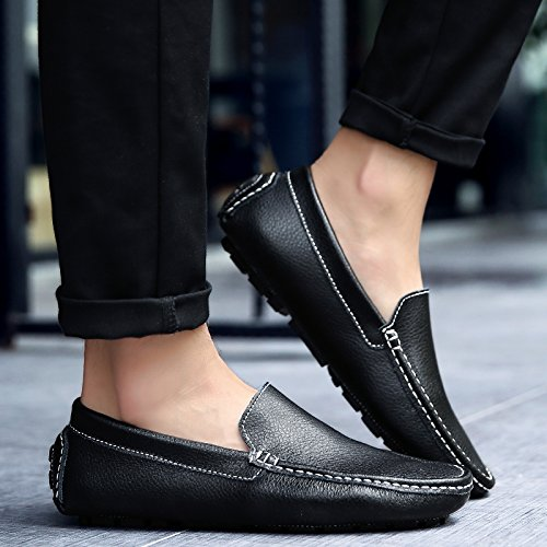Abby 9668 Slip On Para Hombre En Ocasiones New Mocasines Flexibles Driving Zapatos Black