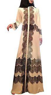 Jotebriyo Women Sequins Muslim Middle East Stitching Cardigan Robes Maxi Dress