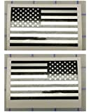 """I Make DecalsTM - Ghosted US American subdued flag, silver with ghosted black print, 2"""" X 3"""", pair, Hard Hat, lunch box, vinyl decal car sticker"""