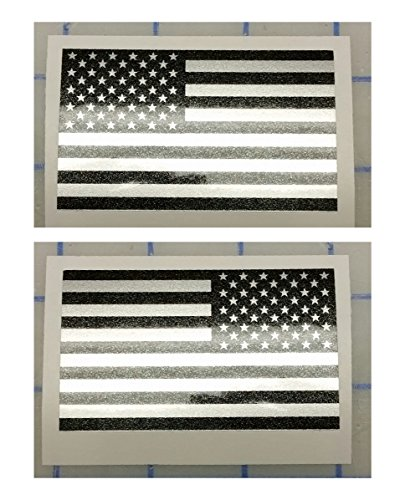 "I Make Decals™ - Ghosted US American subdued flag, silver with ghosted black print, 2"" X 3"", pair, Hard Hat, lunch box, vinyl decal car sticker"