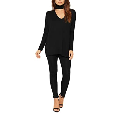 fb7c1cfe06 Womens Choker Neck Loungewear Tracksuit Ladies Top   Leggings Set Nightwear  Suit BLACK UK 12-