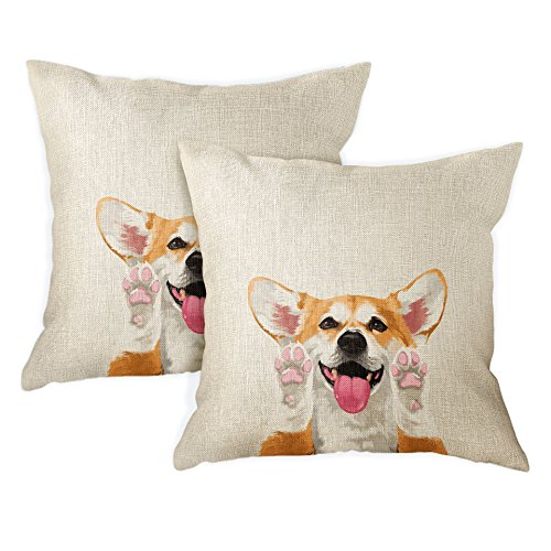 FINCIBO Sofa Pillow Cases, Decorative Throw Pillow Cushion Covers for Home Office 18 x 18 Inch (2 Piece Set), Cute Red Pembroke Welsh Corgi