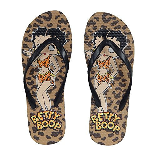 Betty Boop Womens Flip Flop Sandal Thong (Betsy - Natural, Size 8)