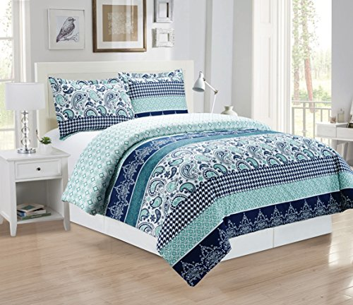 3 piece fine printed paisley duvet cover set queen size for High thread count bed sheets