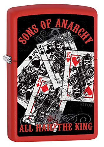 Anarchy Zippo Lighter - Zippo Lighter: Sons of Anarchy, All Hail The King - Red Matte 80145