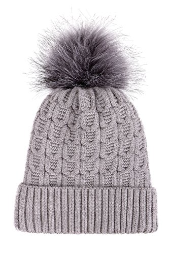 Arctic Paw Sherpa Lined Knit Beanie with Faux Fur Pompom,Grey