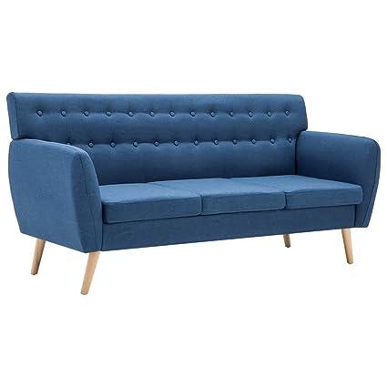 Tidyard Sofa de Salon Sofa Salon Moderno Sofá de 3 Plazas Azul Estructura de MDF y Tapicería de Tela y Patas de Madera Maciza 172 x 70 x 82 cm