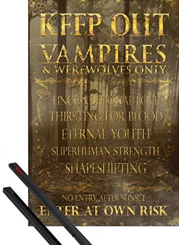 1art1 Poster + Hanger: Fun Poster (36x24 inches) Keep Out, Vampires and Werewolves Only and 1 Set of Black Poster Hangers]()