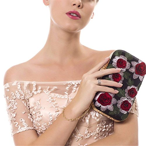 Purse Ladies ON Evening Rising Party 3D Wedding Bags Rhinestones Ym1226black Crossbody Shoulder Rose Embroidery Bag Women Small Vintage OrqwIqdv