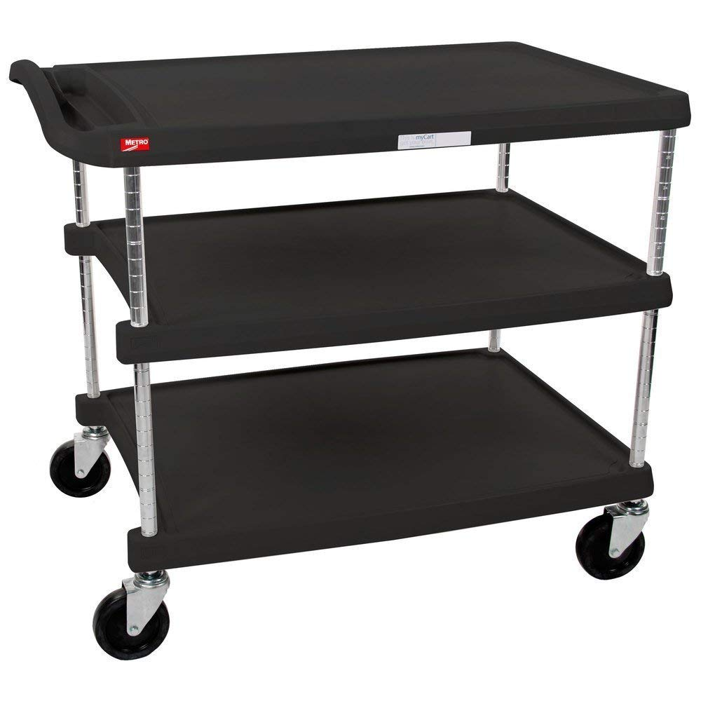 InterMetro Industries MY2030-34BL Mycart Series Black Polymer Utility Cart, 3 Shelf, 35.38 X 34.38 X 23.5-Inch