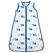 aden by aden + anais Classic Sleeping Bag, 100% Cotton Muslin, Wearable Baby Blanket, Jungle Jive, Elephant, Small, 0-6 Months