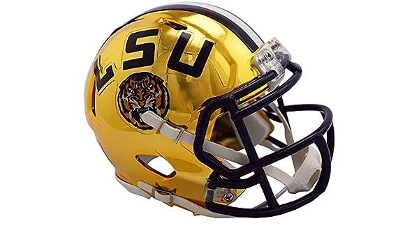 College Mini Helmets Sports Memorabilia Riddell LSU Tigers Chrome Alternate Speed Mini Football Helmet