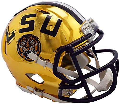 Sports Memorabilia Riddell LSU Tigers Chrome Alternate Speed Mini Football Helmet - College Mini Helmets
