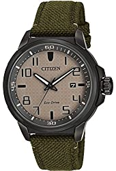 Citizen AW1465-14H Eco-Drive Men's Military Green Strap Beige Dial Sport Watch