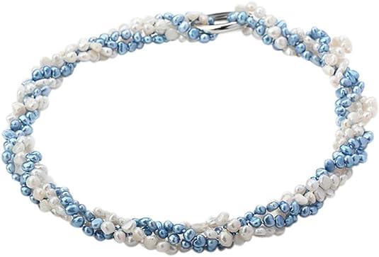 TreasureBay Collar de perlas de agua dulce perla blanco y azul