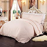 Simple&Opulence 100% Cotton Percale 250TC Pink Plain Flouncing Girl Bedding Set Twin Duvet Cover Set Including 1 Duvet Cover and 1 Pillowcase (Pink,Twin)