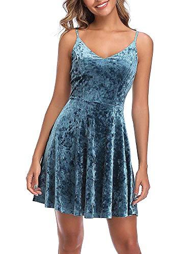 GUBERRY Womens Spaghetti Strap Dress Vneck Solid Velvet Casual Dresses for Teens Blue