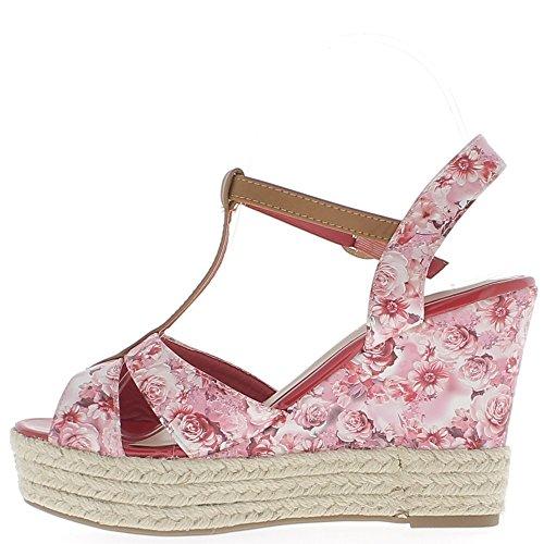 Rosa Heels Keil Sandalen 11 cm print Blumen