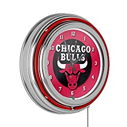 Chicago Bulls NBA Chrome Double Ring Neon Clock
