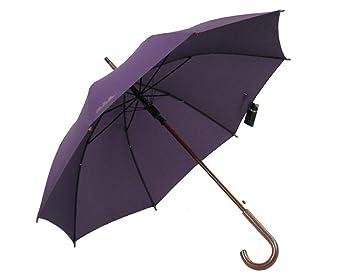 Manija de madera sólida Paraguas Color sólido Mango largo Paraguas soleado Hombre y mujer Paraguas de