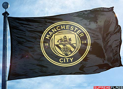 (Manchester City Flag Banner 3x5 Premier Football Soccer Black Gold Premium)
