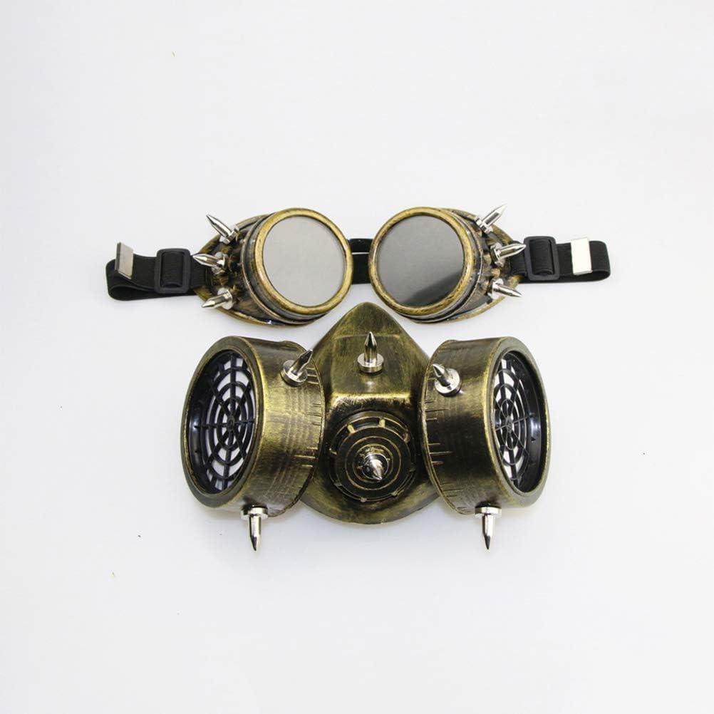 Peahop Halloween Gas Maske Steampunk Gasmaskenbrille Spikes Skeleton Warrior Totenmaske Maskerade Cosplay Kost/üm Requisiten