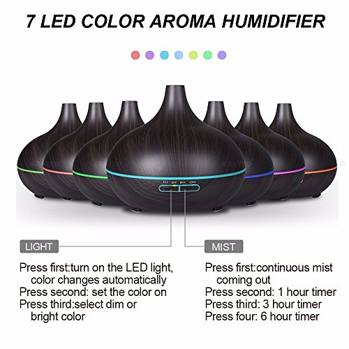 BeautySu. Ultrasonic Cool Mist Humidifier Aroma Essential, Essential Oil Diffuser for Office Home Bedroom Living Room Study Yoga Spa, to Sleep, Natural Calm, Relaxation - Dark Wood Grain by BeautySu. (Image #3)
