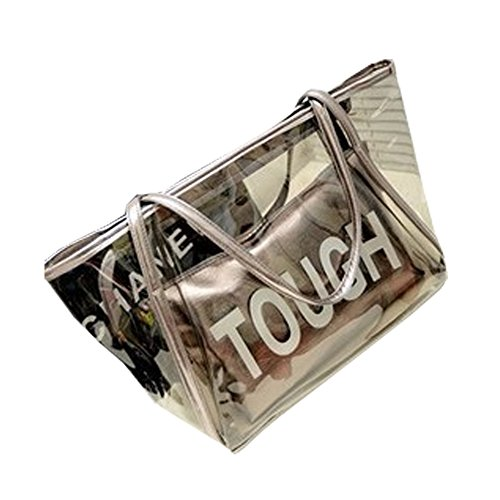 FTSCUQ Womens Casual Tough Tote Transparent Beach Handbag Shoulder Bags Silver Satchels - Spanish City Triathlon