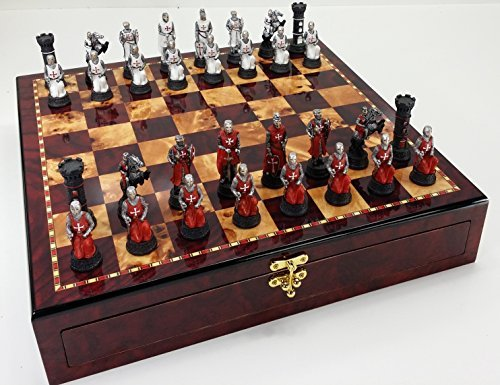 Red & White Medievel Times Crusades Knight Chess Set W/ 17